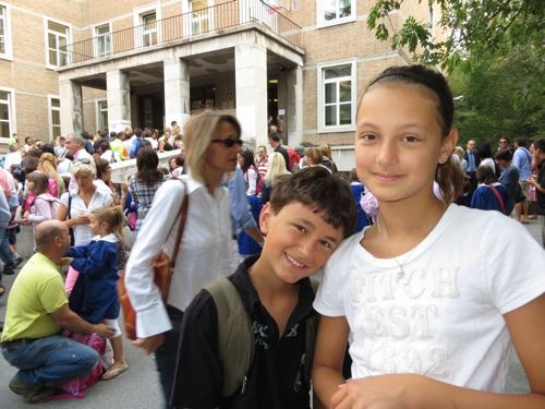 First day of school in Italy for Silvia and Alessio Tosolini